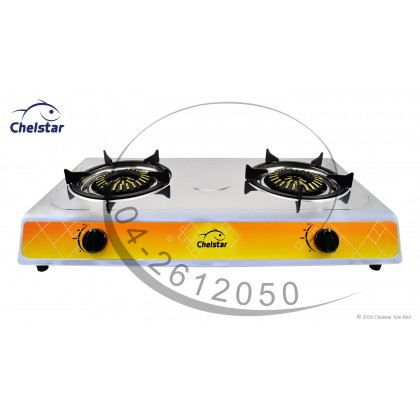 Chelstar Stainless Steel Double Burner Table Top Stove / Gas Cooker (J-3333K)