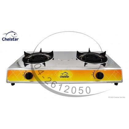 Chelstar Stainless Steel Double Burner Table Top Stove / Gas Cooker (J-5555K)
