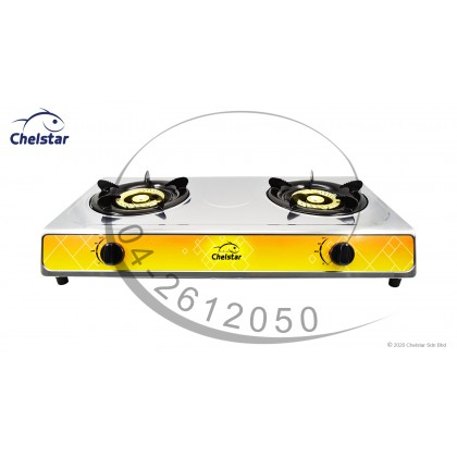 Chelstar Stainless Steel Table Top Double Burner Stove / Gas Cooker (J-7777K)