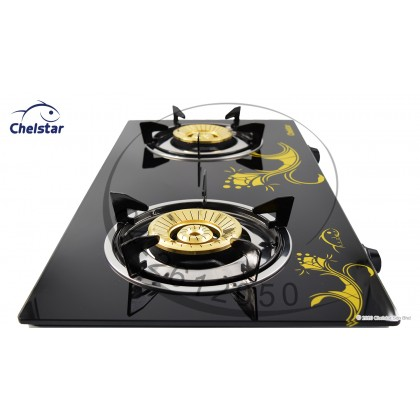Chelstar Double Burner Glass Table Top Stove / Gas Cooker CGT-328K (Flora)