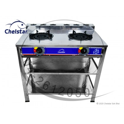 Chelstar Stainless Steel Double Burner with Stand (DCF-95D)