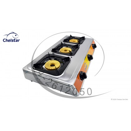 Chelstar Stainless Steel Three Burner Table Top Stove / Gas Cooker (CGC-322K)