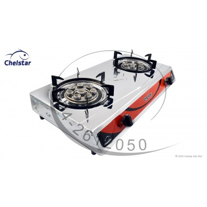 Chelstar Stainless Steel Double Burner Table Top Stove / Gas Cooker (CGC-689C)