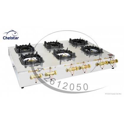 Chelstar Six Burner Commercial Table Top Stove / Gas Cooker (MS-60M)