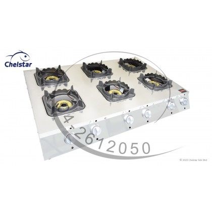 Chelstar Six Burner Commercial Table Top Stove / Gas Cooker (MS-6A)