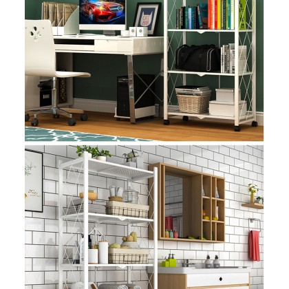 Foldable Stainless Steel Storage Rack Wheeled Kitchen Home (WK271202)